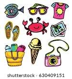 hand drawn doodle summer... | Shutterstock .eps vector #630409151