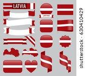 set of latvia maps  flags ... | Shutterstock .eps vector #630410429