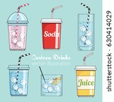 set of cartoon drinks  cold... | Shutterstock .eps vector #630414029