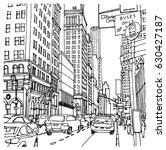 scene street illustration. hand ... | Shutterstock .eps vector #630427187