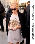 Small photo of PARIS, FRANCE - JANUARY 23, 2017: Kylie Minogue goes to the Schiaparelli fashion show during Paris Fashion Week Haute Couture