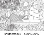 line art design of seascape for ... | Shutterstock .eps vector #630438047