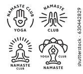 namaste yoga logo and icon set | Shutterstock .eps vector #630442829
