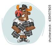 bull football player holds two... | Shutterstock .eps vector #630457805