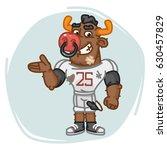 bull football player shows.... | Shutterstock .eps vector #630457829