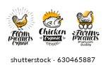 chicken  hen label set. poultry ... | Shutterstock .eps vector #630465887