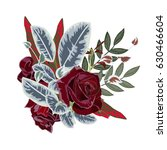 bouquet of burgundy roses and... | Shutterstock .eps vector #630466604