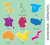 nine maps of countries  italy ... | Shutterstock .eps vector #630467651