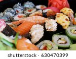 japanese dishes  sushi  rolls ...   Shutterstock . vector #630470399
