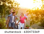 happy family on vacation... | Shutterstock . vector #630473369