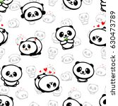 seamless pattern with cute... | Shutterstock .eps vector #630473789