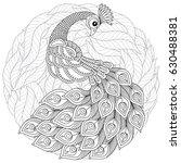 peacock in zentangle style.... | Shutterstock .eps vector #630488381