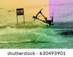 wakeboarding sportsman jumping...   Shutterstock . vector #630493901