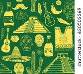 mexico seamless pattern doodle... | Shutterstock .eps vector #630503369