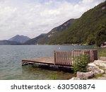 small dock in annecy lake in... | Shutterstock . vector #630508874