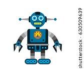 blue robot cartoon illustration | Shutterstock .eps vector #630509639
