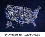 vintage usa map with states... | Shutterstock . vector #630509681