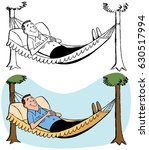 a man relaxing in a hammock | Shutterstock .eps vector #630517994