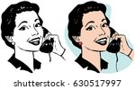 a woman talking on a vintage... | Shutterstock .eps vector #630517997