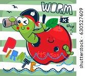 cute cartoon pirate worm... | Shutterstock .eps vector #630527609