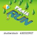 trail run event. green poster...   Shutterstock . vector #630535907