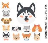 funny cartoon dog character... | Shutterstock .eps vector #630543545