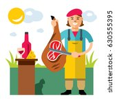 vector butcher shop. flat style ... | Shutterstock .eps vector #630555395