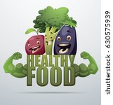"vector green emblem ""healthy... | Shutterstock .eps vector #630575939"