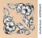 hand draw vintage baroque frame ...   Shutterstock .eps vector #630584645