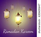 ramadan kareem lantern.  glow... | Shutterstock . vector #630600647