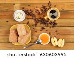 crispy rolls with butter  apple ... | Shutterstock . vector #630603995
