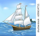 vintage sailing ship in the sea ... | Shutterstock .eps vector #630614711