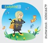 yellow ladybug on the meadow.... | Shutterstock .eps vector #630616679