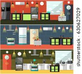 vector set of restaurant... | Shutterstock .eps vector #630627029