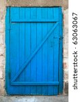 old wood door painted with blue ... | Shutterstock . vector #63063067