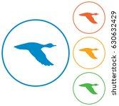 vector silhouette flying duck.... | Shutterstock .eps vector #630632429