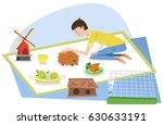 boy with pet guinea pig ... | Shutterstock .eps vector #630633191