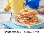 crispy toast with honey and... | Shutterstock . vector #630637745