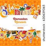 ramadan kareem banner with flat ... | Shutterstock .eps vector #630639365
