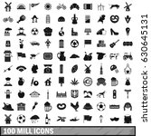 100 mill icons set in simple... | Shutterstock .eps vector #630645131