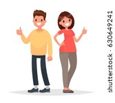 thumb lifted up. cool. man and... | Shutterstock .eps vector #630649241