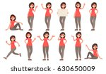 Set of a woman in casual clothes in different poses. A character for your project. Vector illustration in a flat style
