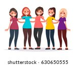 group of women are hugging.... | Shutterstock .eps vector #630650555