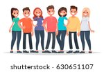 group of happy people in casual ... | Shutterstock .eps vector #630651107