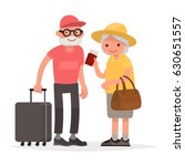 elderly couple of tourists.... | Shutterstock .eps vector #630651557