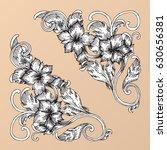 hand draw vintage baroque frame ... | Shutterstock .eps vector #630656381