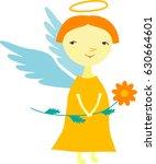 vector cute cartoon angel with... | Shutterstock .eps vector #630664601