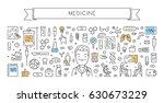 line web banner for medicine... | Shutterstock .eps vector #630673229