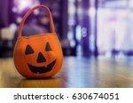 Close up halloween bag on wood...