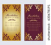 vintage invitation and wedding... | Shutterstock .eps vector #630678191